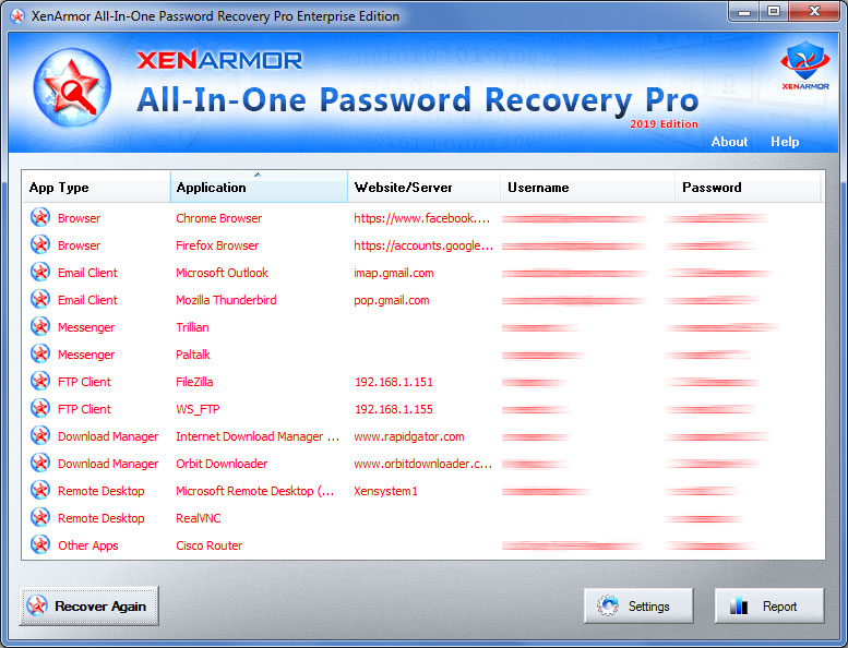 One software to recover ALL your Passwords