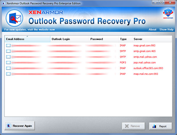 XenArmor Outlook Password Recovery Pro full screenshot
