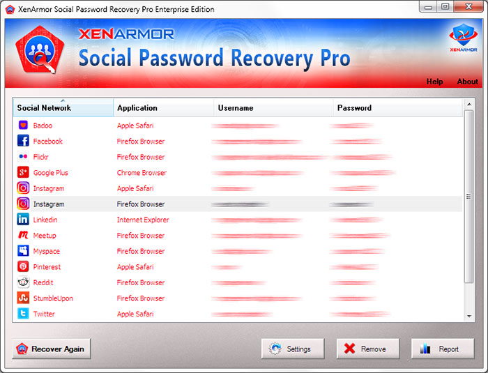 Social Network Password Recovery Software