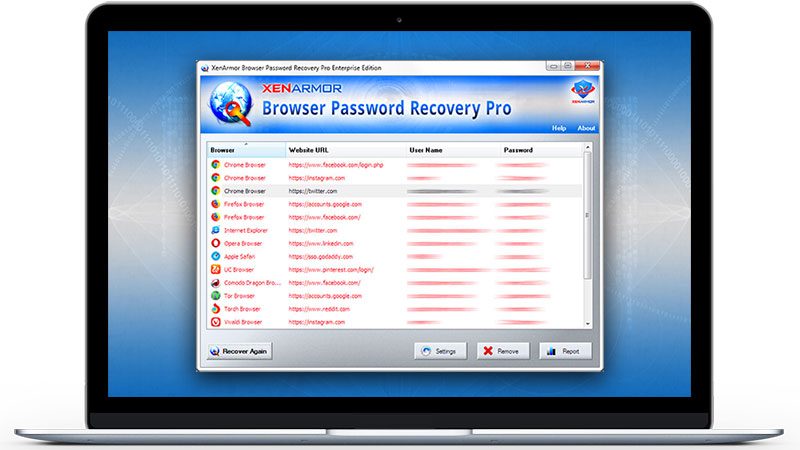 Click to view XenArmor Browser Password Recovery Pro screenshots