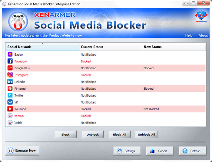 XenArmor Social Media Blocker Screen shot