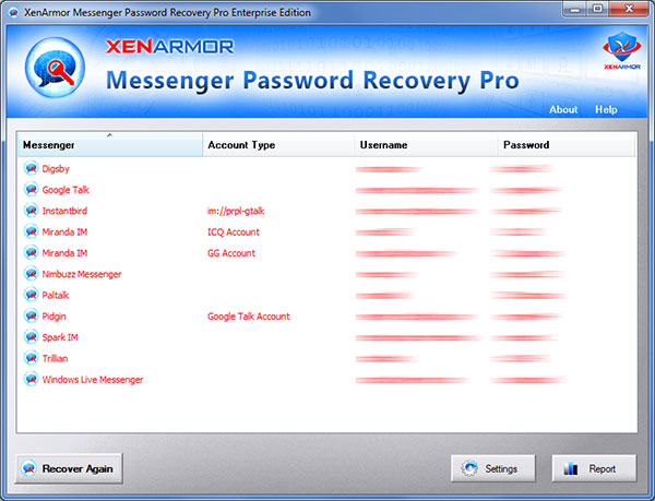 Messenger Password Recovery Pro