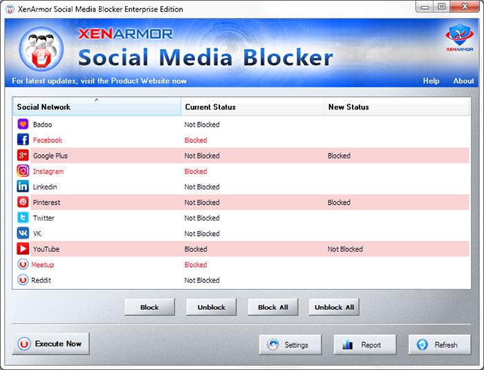 XenArmor Social Media Blocker full screenshot